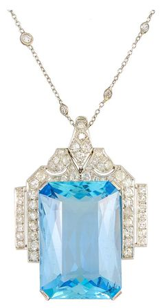 Art Deco Aquamarine and Diamond Platinum Pendant