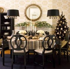 black and white christmas table settings, holiday, dining rooms, christmas table decorations, black christmas, christmas tables, christmas decorations, modern christmas, gold christmas