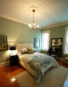 wall colors, saybrook sage, guest bedrooms, green, paint colors, master bedrooms, upholstered headboards, benjamin moore, guest rooms