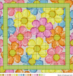 August Daisies Needlepoint Pattern colorful flowers, needlepoint pattern, color flower, crossstitch, daisy cross stitch, daisi, needlepoint chart, cross stitch patterns, cross stitches