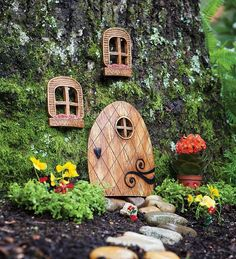tree decorations, fairi garden, yard, window, fairy houses, gnome home, elv, fairy homes, fairy doors