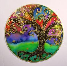 Tree of Light Mandala art spirtual art silk art meditation art tree of life art MADE TO ORDER. $32.00, via Etsy.