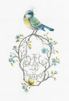 skulls, tattoo idea, courtney brim, courtneybrim, skull tattoo, art, branch, sweet home, birds