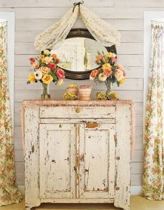 Vertical boards. Long curtains. Shabby Cabinet. = GREAT