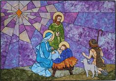O Holy Night ~ a Nativity quilt.  Impressionist Stained Glass pattern from Brenda Henning's Bear Paw Productions