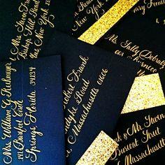 Wedding envelope Calligraphy in beautiful gold ink! #weddingcalligraphy #wedding #Calligraphy #envelopecalligraphy #weddinginspiration #internationalcalligrapher #nationwidecalligrapher #CalligraphybyJennifer