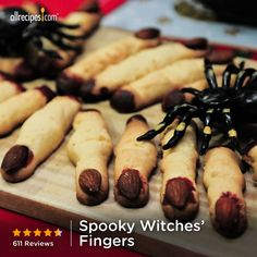 "Spooky Witches' Fingers | ""Made as recipe directed and added frosting colors green and black to make ""monster fingers"", I won the Halloween dessert contest at work!!"""