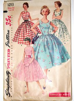 1950s formal dress vintage sewing pattern Simplicity 1213