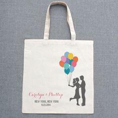 Balloon Rainbow Custom Wedding Tote $10