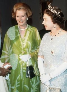 Queen Elizabeth II and Margaret Thatcher at the Commonwealth Conference in 1979 in Lusaka, Zambia.