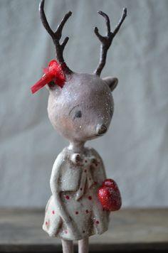 paperclay pink, christmas dolls folk art, pink valentin, art paperclay, christma craft
