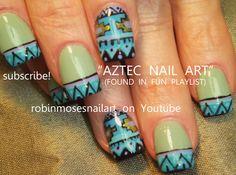 Nail-art by Robin Moses AZTEC DESIGN http://www.youtube.com/watch?v=H1SxT4qk84g