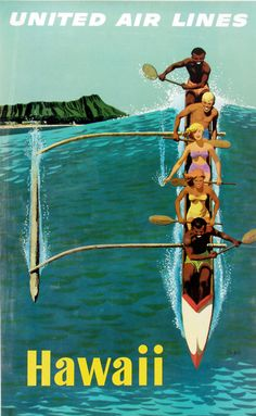 United Air Lines - Hawaii. Vintage travel poster.