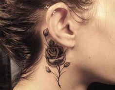elegant rose neck tattoo #neck #tattoo #women #female