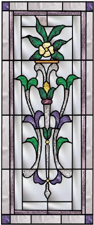 glass window, floral design
