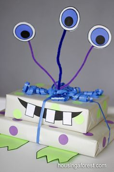 Monster Gift Wrapping ~ Creative Birthday Gift Wrapping Idea for Kids