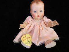 "Effanbee Patsy Baby Doll 10"" - Babykin -1950's Very Rare  MINT Plastic with her Gold Heart Tag"