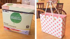 Repurposing Laundry Detergent Containers Into Useful Objects | One Good Thing by Jillee. Pictured is laundry box to tote bag. Site also makes clear laundry tubs into organized containers.