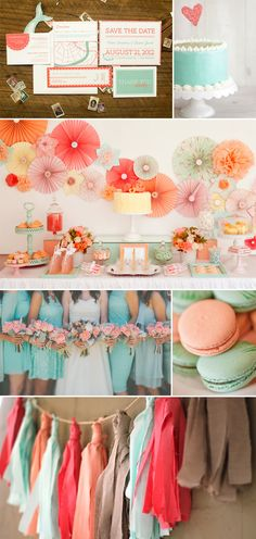 A wonderful #wedding palette of coral and mint