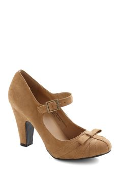 Gift Wrapping Professional Heel in Party - Tan, Solid, Bows, Mid, Mary Jane, Work
