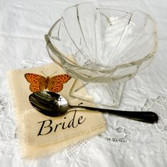 Vintage rustic wedding table place name setting with butterflies - by Kettle of Fish on Etsy
