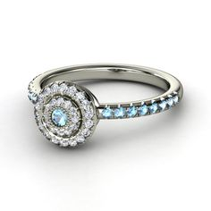 Round Blue Topaz 14K White Gold Ring with Diamond