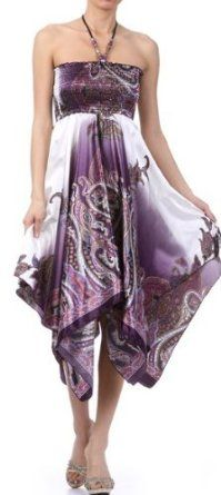 Paisley Design Satin Feel Beaded Halter Smocked Bodice Handkerchief Hem Dress. On sale today for $29.99