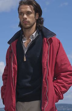 Our new nautical sailing style Jacket (red or navy colours). £59.99 and comes in sizes M to 3XL.