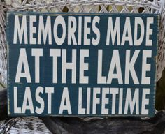 Lake Sign - Lake House Decor - Lake Decor - Cabin - Memories - Hand Painted - Reclaimed Wood - Wall Hanger - Rustic - Typography on Wanelo