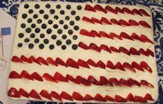 Great American Flag Cake flag cake, flags, juli 4th, juli parti, cakes, american flag, camp idea, 4th of july, dessert