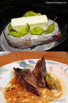 Mississippi Roast - - Put chuck roast in crock pot, Sprinkle with dry Hidden Valley ranch dressing mix, add packet of dry McCormick Au Jus mix, a stick of butter, 5 pepperoncini peppers. DO NOT ADD WATER. Cook on low for 7-8 hrs