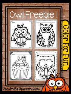 Tuesday Teacher Tips: Can't Celebrate Halloween At School? Throw an Owl Party Instead! #Free Color for Fun Owl Printables #Fernsmithsclassroomideas #Halloween