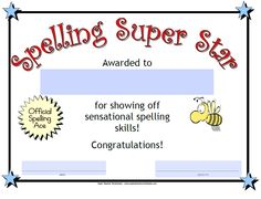 Check out our Spelling Super Star Award!  Super Teacher Worksheets has awards for all subject areas to recognize student achievement.