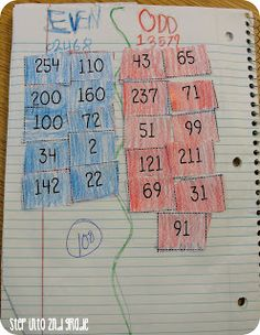 Activities for practicing even and odd numbers