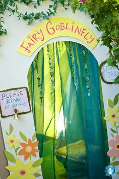 fairy party door, could use a giant piece of cardboard painted birthday parti, fairies, fairi parti, parties, kid parti, den, bday parti, parti idea, entrance