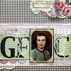 Scrapbook Page with Houndstooth pattern by Katie Scott | GetItScrapped.com/blog