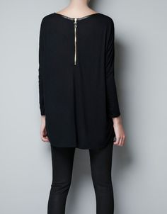 T-SHIRT WITH FAUX LEATHER PIPING - T-shirts - Woman - ZARA Czech Republic