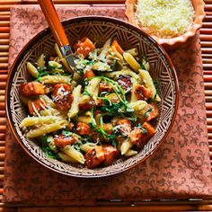 easy penne pasta with balsamic sweet potatoes, baby arugula(or spinach, and parmesan