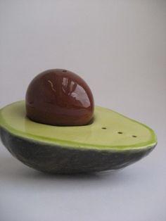 avocado salt and pepper shaker
