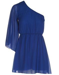 One Shoulder Angel Sleeve Blue Chiffon Dress