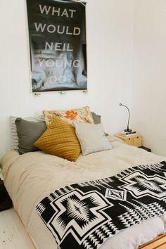 Bed on floor / modern bohemian