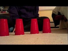 Cup song rhythm using 4 cups