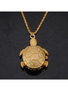 Golden Tortoise Pendant Pocket Watch