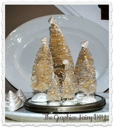 Create some White Pearly Wire brush Trees! Great tips here... these started out green!! bottl brush, bottle trees, graphics fairy, brushes, fairi, brush tree, wire trees, bottlebrush decor, christma
