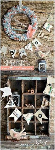 Adorable Spring Banner and Wreath Tutorial @Matt Valk Chuah 36th Avenue .com Pin it now and make it later! #crafts #wreath