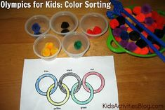 Teach the kids about the Olympics with this color sorting activity