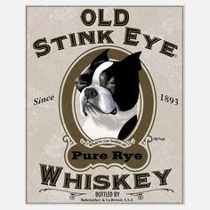 old stink eye terriers, stink eye, eye print, brian rubenack, boston terrier, pug dogs, prints, dog art, eyes