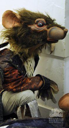Backstage at Birmingham Royal Ballet's The Nutcracker: an Artist of Birmingham Royal Ballet as a Rat; photo: Roy Smiljanic