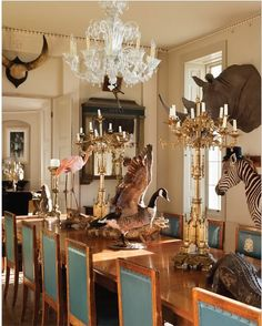 #taxidermy filled dining room