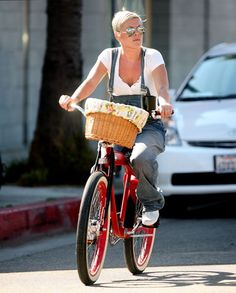 Pink and Carey Harts bicycle date
